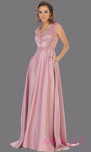Long mauve v neck satin taffeta dress with lace. This stunning dusty rose dress from Mayqueen RQ7723 is perfect for bridesmaid dresses, formal evening dresses, prom dresses, party dresses, plus size formal wedding guest dresses.