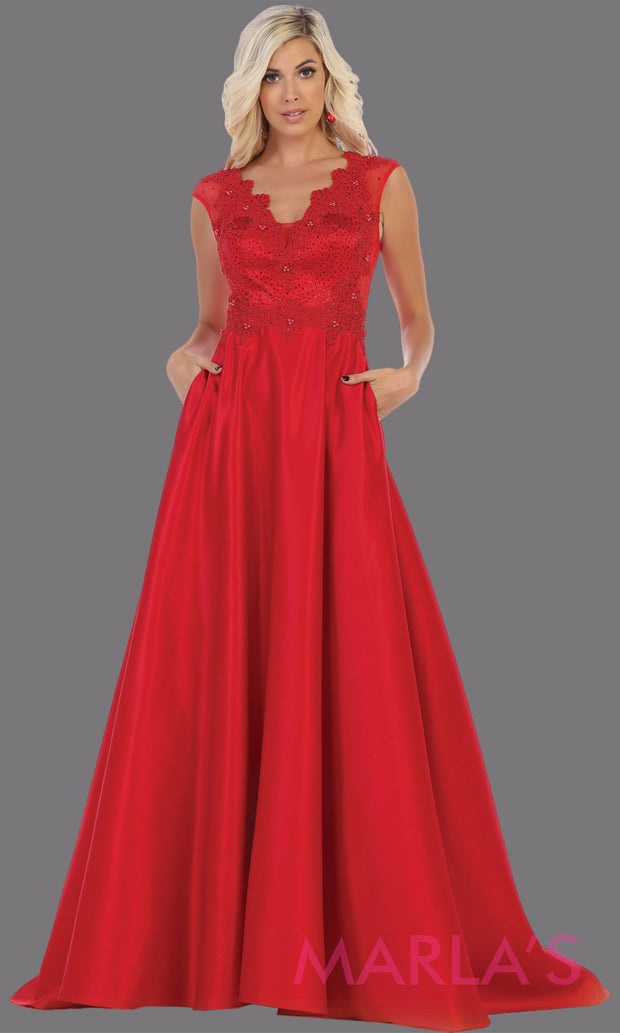 Long red v neck satin taffeta dress with lace. This stunning red dress from Mayqueen RQ7723 is perfect for bridesmaid dresses, formal evening dresses, prom dresses, party dresses, plus size formal wedding guest dresses.