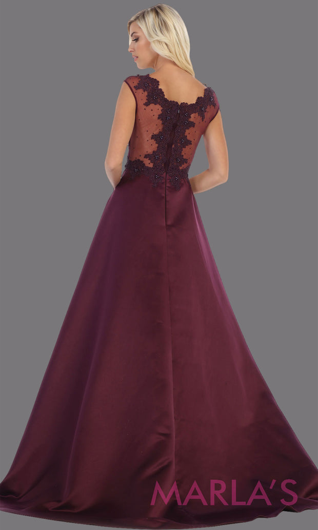 Back of Long eggplant v neck satin taffeta dress with lace. This stunning dark purple dress from Mayqueen RQ7723 is perfect for bridesmaid dresses, formal evening dresses, prom dresses, party dresses, plus size formal wedding guest dresses.