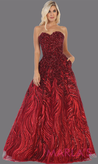 Long red sequin beaded strapless gown from MayQueen RQ7728. This formal dark red sequin gown is perfect as a indowestern gown, wedding reception dress, engagement dress, prom,  plus size formal evening gown, sweet 16 dress, quinceanera gown