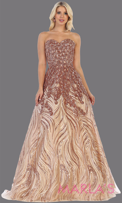 Long rose gold sequin beaded strapless gown from MayQueen RQ7728.This formal gold sequin gown is perfect as a indowestern gown, wedding reception dress, engagement dress, prom,  plus size formal evening gown, sweet 16 dress, quinceanera gown