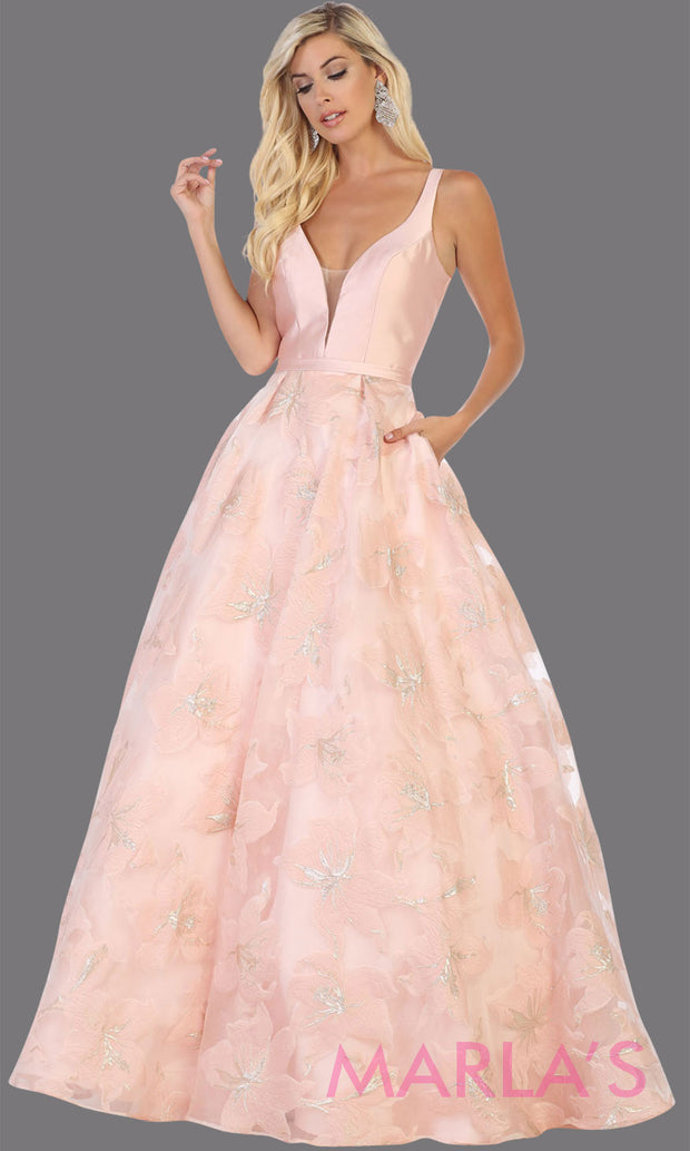 Long pink taffeta gown with wide straps and flowy skirt from MayQueen RQ7730. This long light pink gown is perfect for engagment party dress, summer wedding formal gown, prom dress, plus size wedding guest dress, engagement shoot, e shoot.