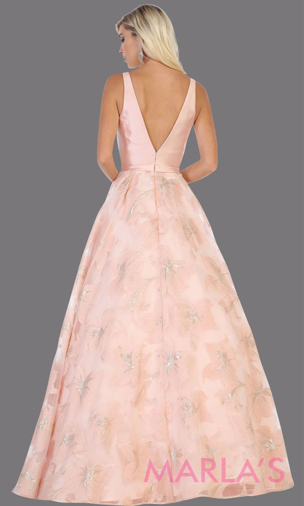 Back of Long pink taffeta gown with wide straps and flowy skirt from MayQueen RQ7730. This long light pink gown is perfect for engagment party dress, summer wedding formal gown, prom dress, plus size wedding guest dress, engagement shoot, e shoot.