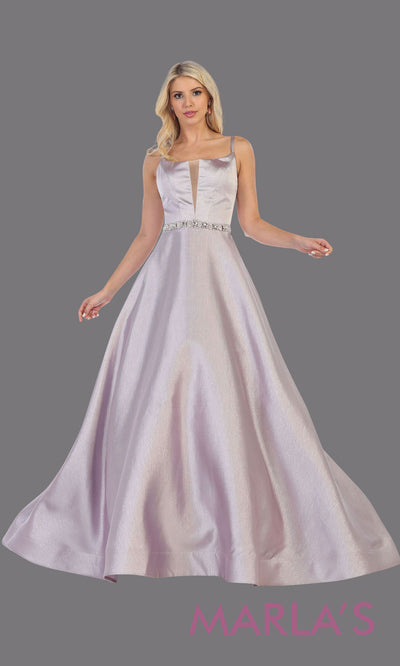 Long mauve satin taffeta gown with corset back from MayQueen RQ7734. This stunning full length gown is perfect for wedding engagement dress, wedding reception dress, engagement shoot, indowestern gown, plus size formal evening dress