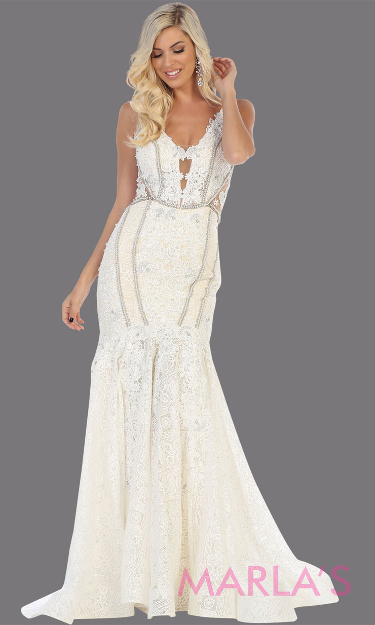 Long ivory lace wedding evening mermaid gown from MayQueen RQ7735. This ivory dress is perfect for engagement dress, wedding reception dress, indowestern gown, plus size wedding dress, prom dress, destination wedding, second wedding dress