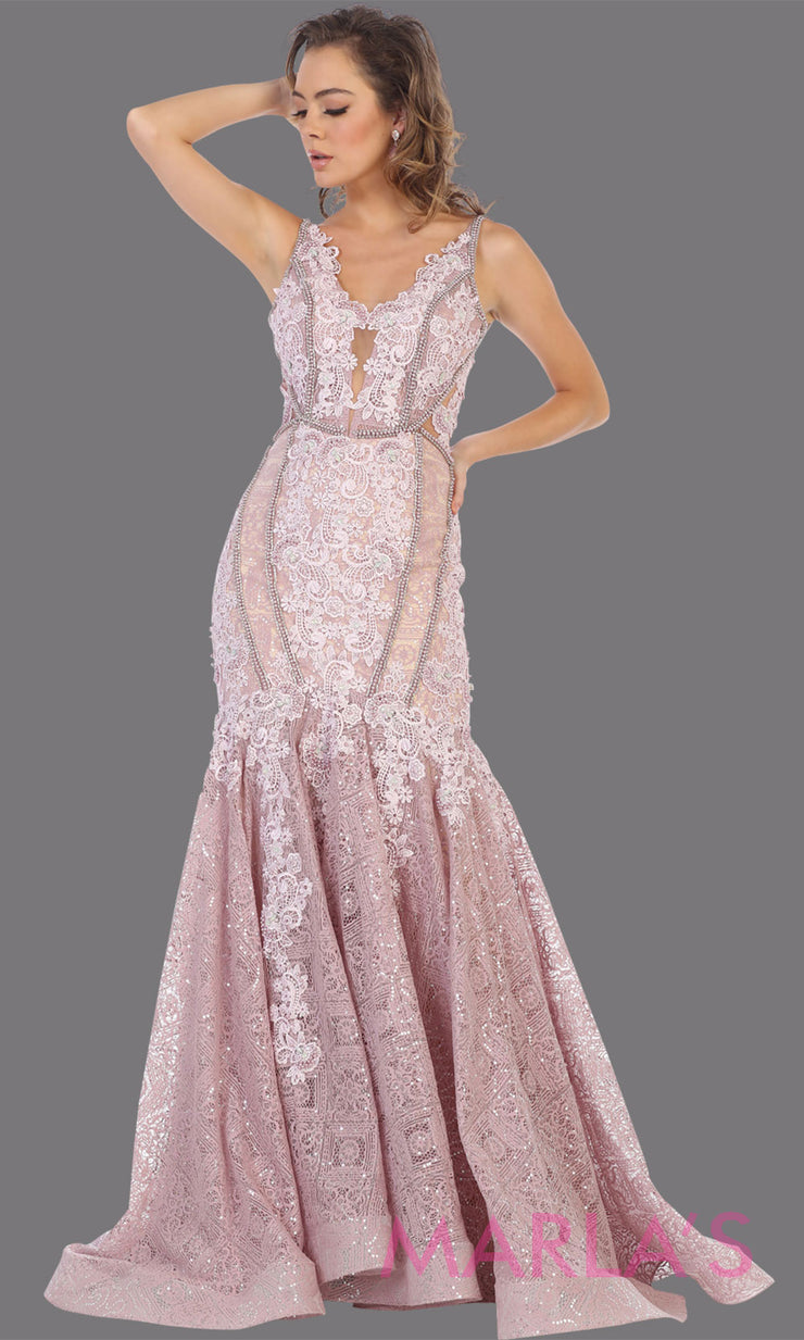 Long mauve lace evening mermaid gown from MayQueen RQ7735. This light purple dress is perfect for engagement dress, wedding reception dress, indowestern gown, plus size formal gown, prom dress, formal evening gown, fancy dress