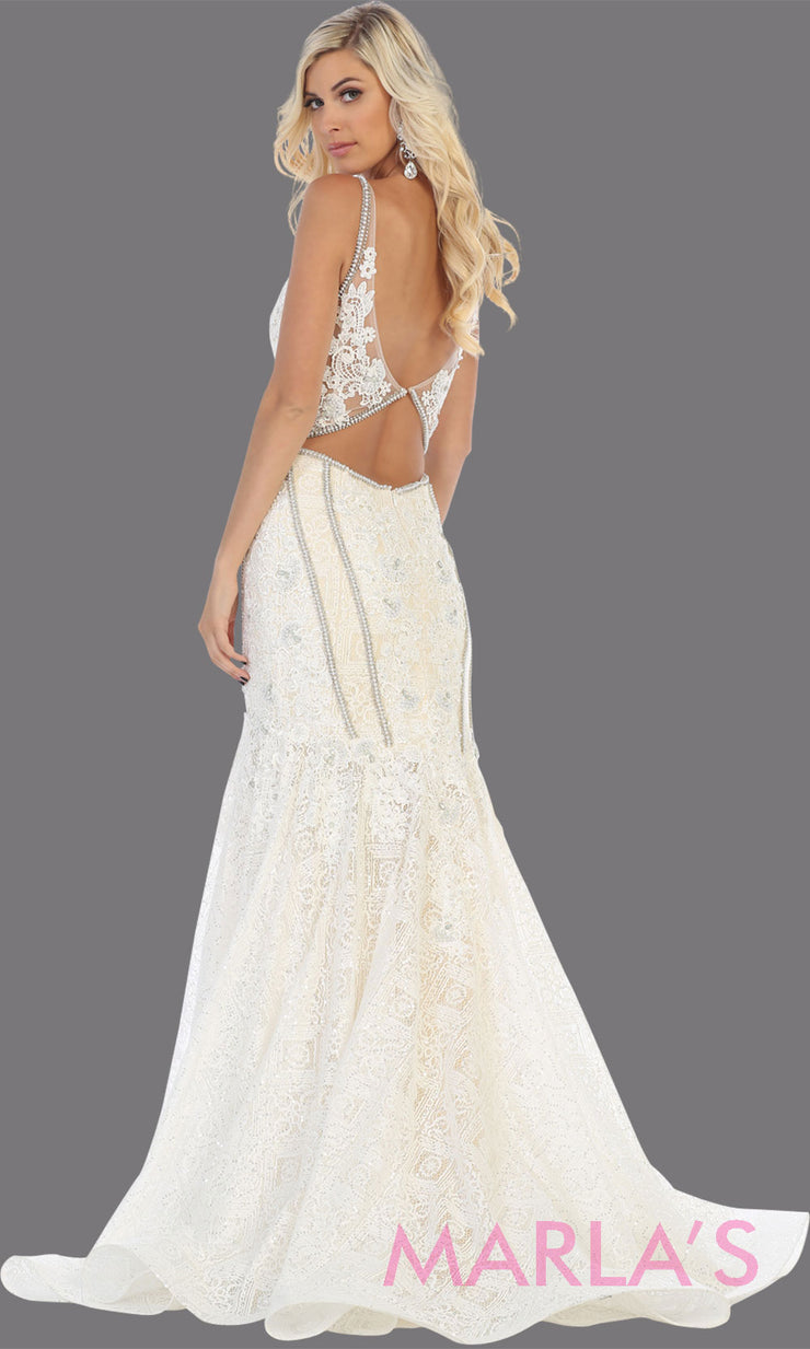 Back of Long ivory lace wedding evening mermaid gown from MayQueen RQ7735. This ivory dress is perfect for engagement dress, wedding reception dress, indowestern gown, plus size wedding dress, prom dress, destination wedding, second wedding dress