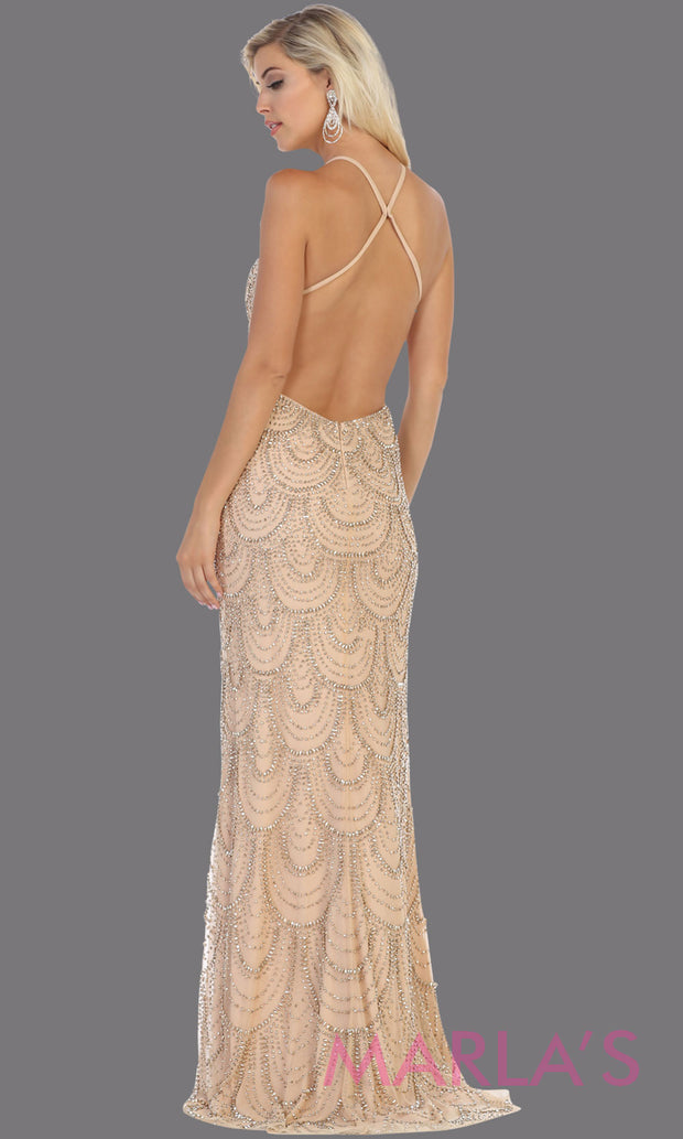 Back of Long champagne sequin open back evening gown from MayQueen RQ7740. This light gold dress is perfect for prom, wedding reception dress, engagement dress, formal evening gown, low back dress