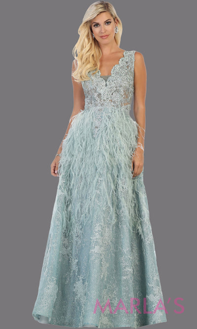 Long sage feather flowy lace dress from MayQueen RQ7741. This green evening dress is perfect for an engagement dress, wedding reception dress, mother of the bride dress, formal plus size party dress, fancy party dress