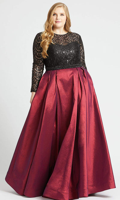 Mac Duggal - 77473F Sequined Lace Long Sleeve Gown In Red