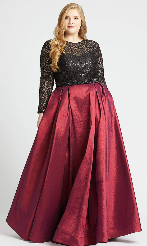 Mac Duggal - 77473F Sequined Lace Long Sleeve Gown