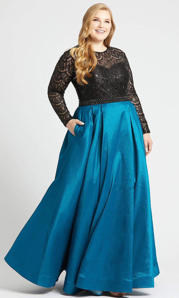 Mac Duggal - 77473F Sequined Lace Long Sleeve Gown In Green