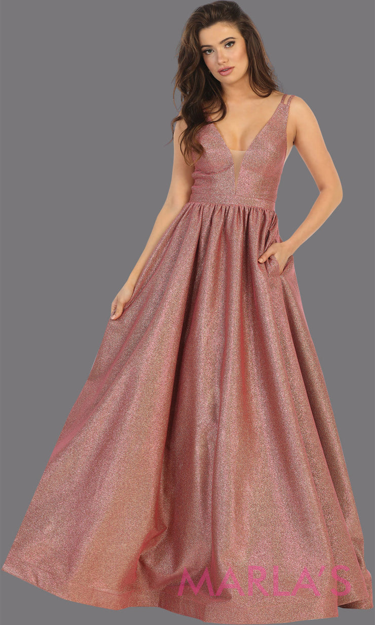 Long coral v neck flowy open back dress from MayQueen RQ7748. This coral metallic gown is perfect for prom, engagement party dress, engagement shoot, e shoot, sweeet 16, sweet 15, plus size formal party dress.