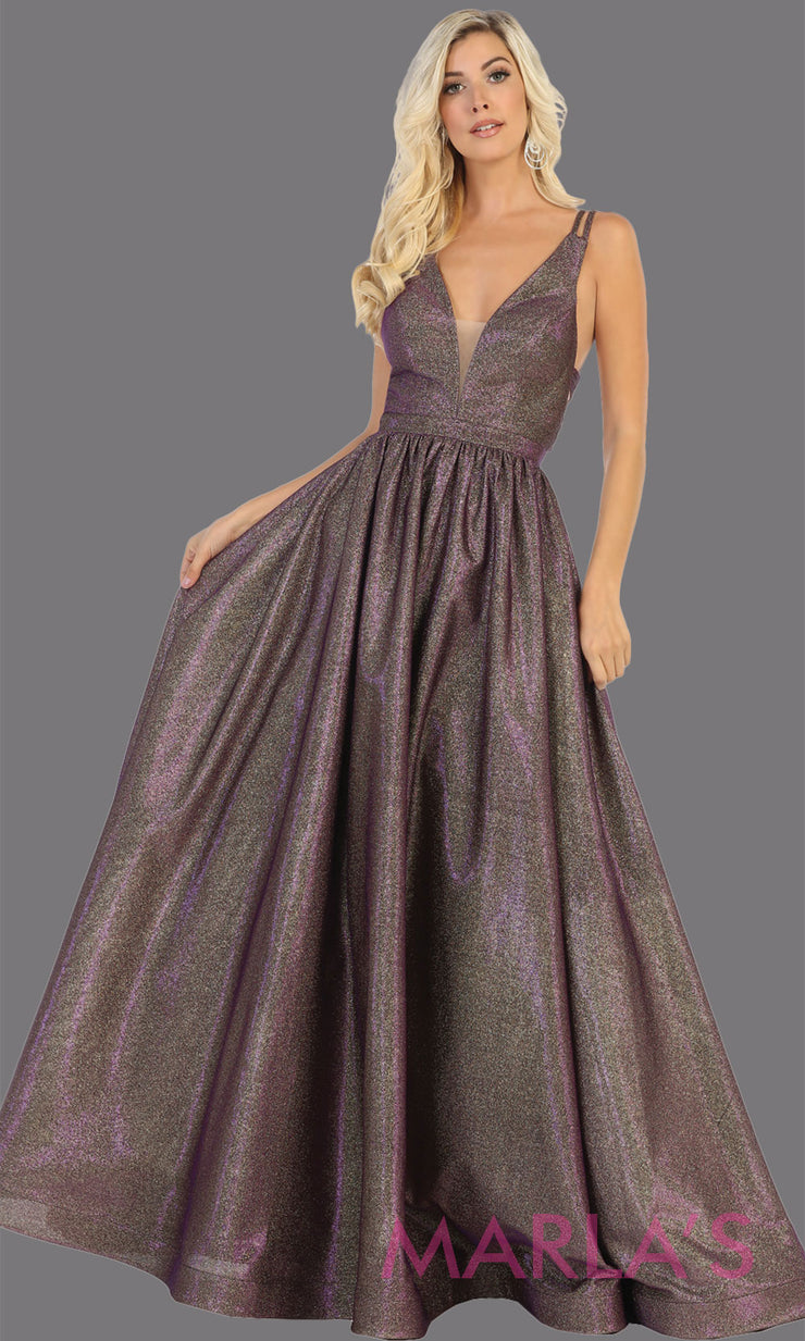 Long purple v neck flowy open back dress from MayQueen RQ7748. This purple metallic gown is perfect for prom, engagement party dress, engagement shoot, e shoot, sweeet 16, sweet 15, plus size formal party dress.