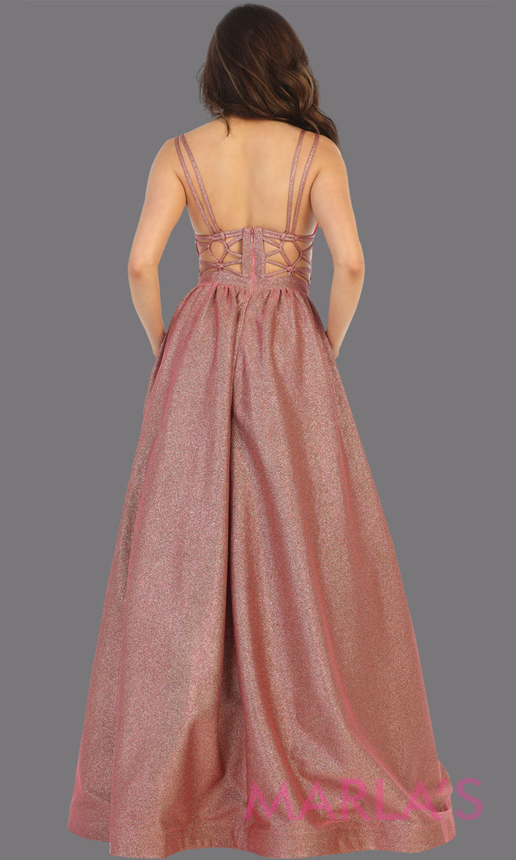 Back of Long coral v neck flowy open back dress from MayQueen RQ7748. This coral metallic gown is perfect for prom, engagement party dress, engagement shoot, e shoot, sweeet 16, sweet 15, plus size formal party dress.