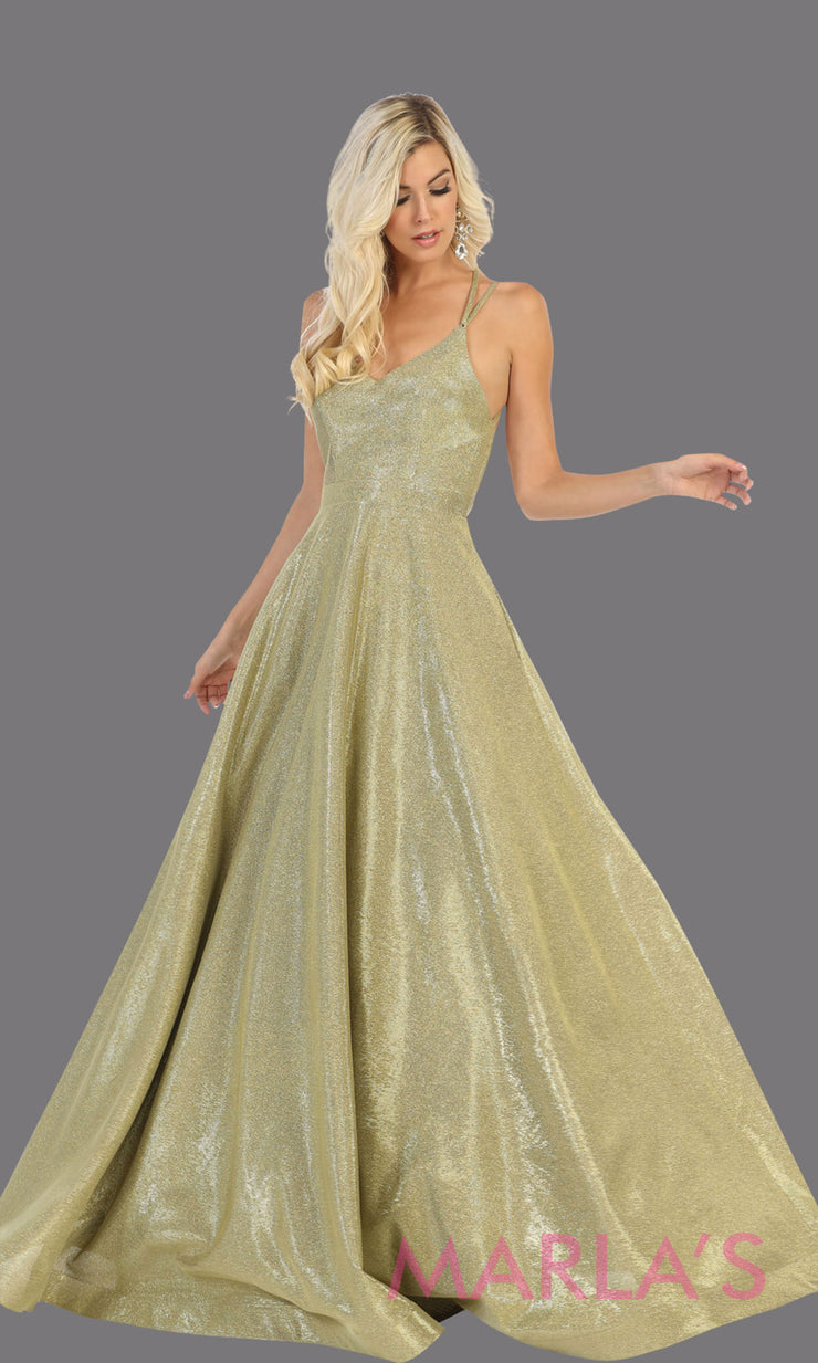 Long gold v neck flowy open back dress from MayQueen RQ7751. This gold metallic gown is perfect for prom, engagement party dress, engagement shoot, e shoot, sweeet 16, sweet 15, plus size formal party dress.