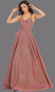 Long mauve v neck flowy open back dress from MayQueen RQ7751. This mauve metallic gown is perfect for prom, engagement party dress, engagement shoot, e shoot, sweeet 16, sweet 15, plus size formal party dress.