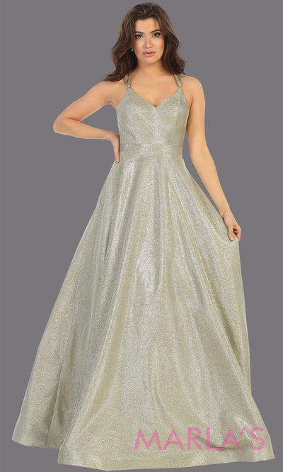 Long silver v neck flowy open back dress from MayQueen RQ7751. This silver metallic gown is perfect for prom, engagement party dress, engagement shoot, e shoot, sweeet 16, sweet 15, plus size formal party dress.