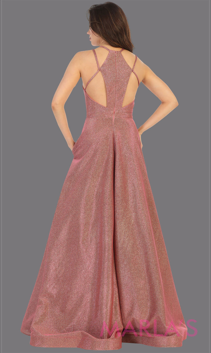 Back of Long mauve v neck flowy open back dress from MayQueen RQ7751. This mauve metallic gown is perfect for prom, engagement party dress, engagement shoot, e shoot, sweeet 16, sweet 15, plus size formal party dress.