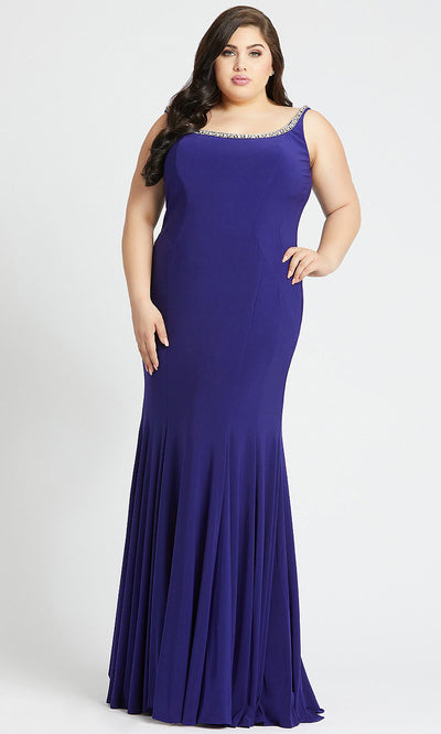 Mac Duggal - 77524F Wide Scoop Neck Sheath Dress In Purple