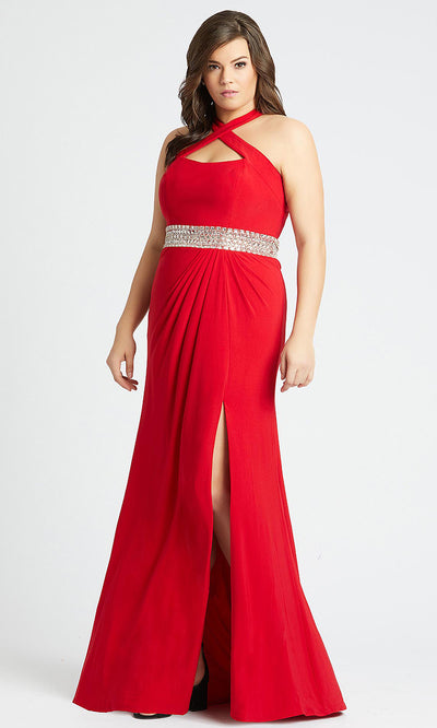 Mac Duggal - 77532F Halter Neck Sheath Dress With Slit In Red
