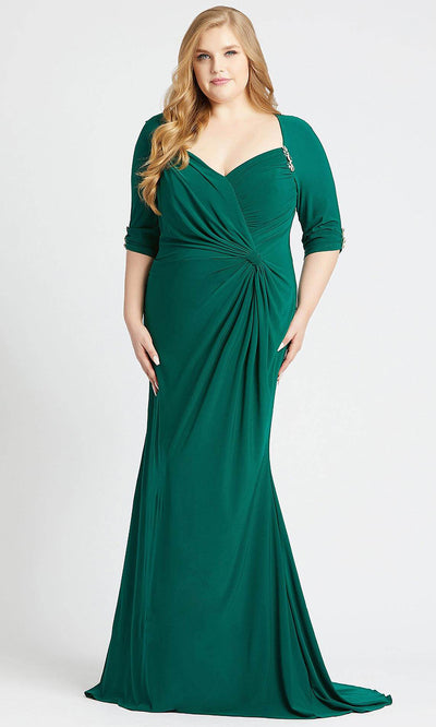 Mac Duggal - 77537F Accented V Neck Ruched Sheath Dress In Green