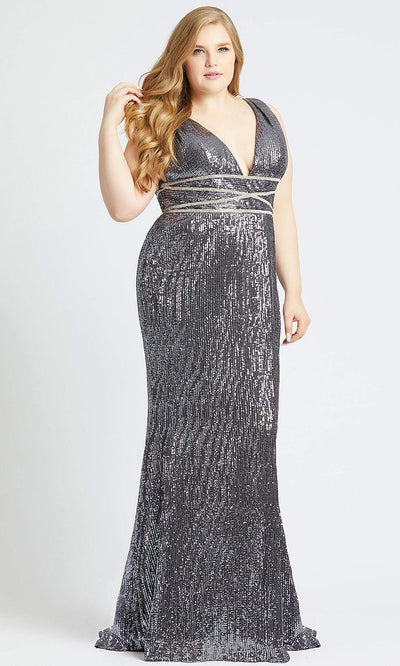 Mac Duggal - 77558F Beaded Deep V Neck Fitted Dress In Gray