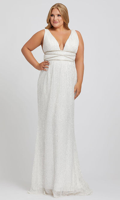 Mac Duggal - 77558F Beaded Deep V Neck Fitted Dress In White