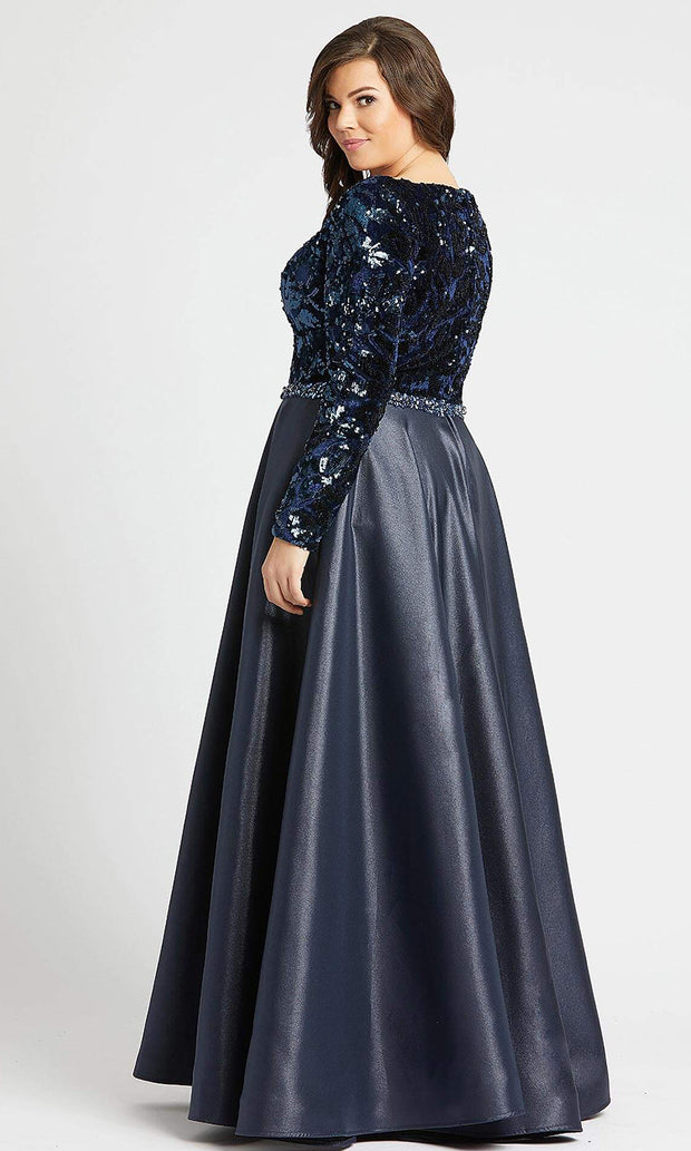 Mac Duggal - 77565F Sequin V Neck Long Sleeves Ballgown In Blue