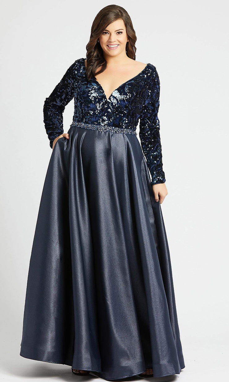 Mac Duggal - 77565F Sequin V Neck Long Sleeves Ballgown