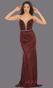Long open back burgundy formal dress from MayQueen RQ7758. This stunning floor length gown is perfect for prom, dark red evening party gown, engagement dress, engagement shoot, e shoot