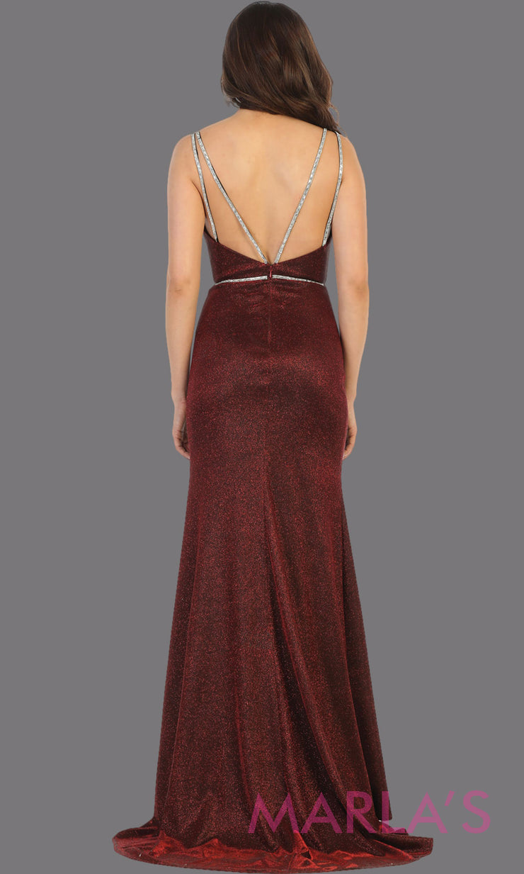 Back of Long open back burgundy formal dress from MayQueen RQ7758. This stunning floor length gown is perfect for prom, dark red evening party gown, engagement dress, engagement shoot, e shoot