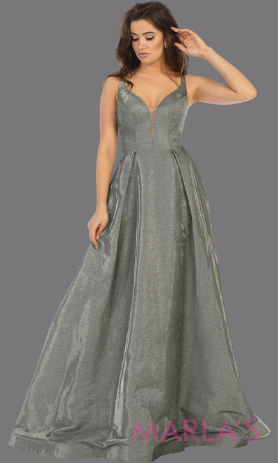Long silver v neck flowy open back dress from MayQueen RQ7759. This silver grey metallic gown is perfect for prom, engagement party dress, engagement shoot, e shoot, sweet 16, sweet 15, plus size formal party dress.