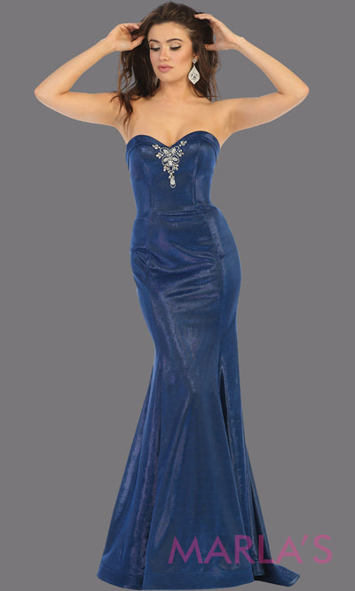 Long royal blue strapless fitted dress from MayQueen RQ7764. This blue evening party gown is perfect for prom, mother of the bride, formal evening party dress, engagement dress, engagement shoot, e shoot, plus size formal party dress.