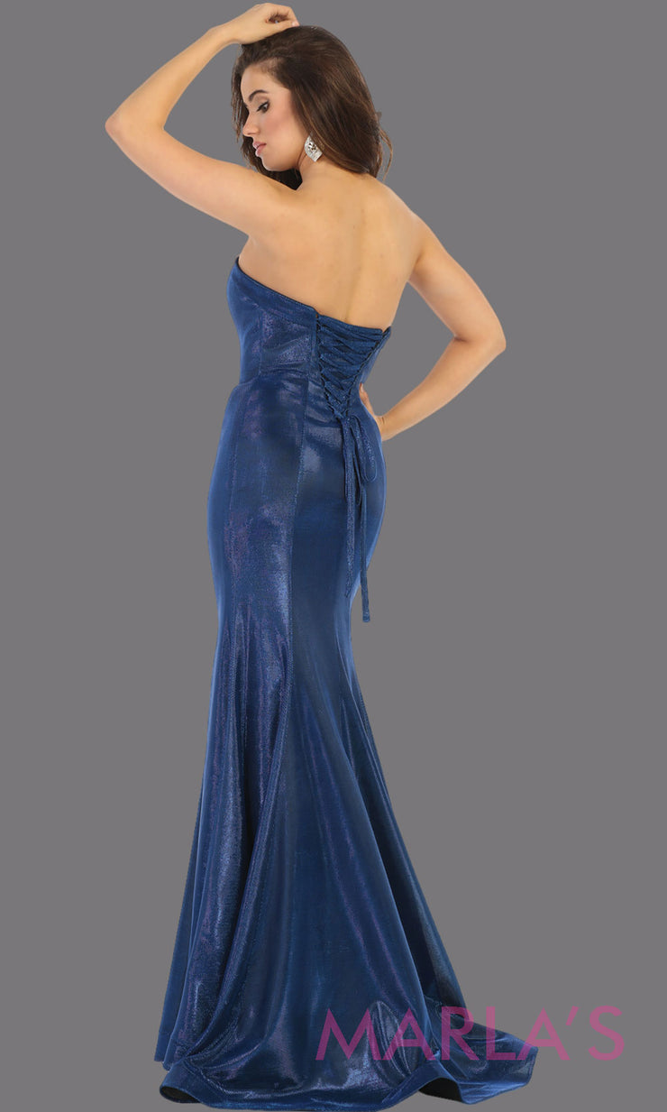 Back of Long royal blue strapless fitted dress from MayQueen RQ7764. This blue evening party gown is perfect for prom, mother of the bride, formal evening party dress, engagement dress, engagement shoot, e shoot, plus size formal party dress.