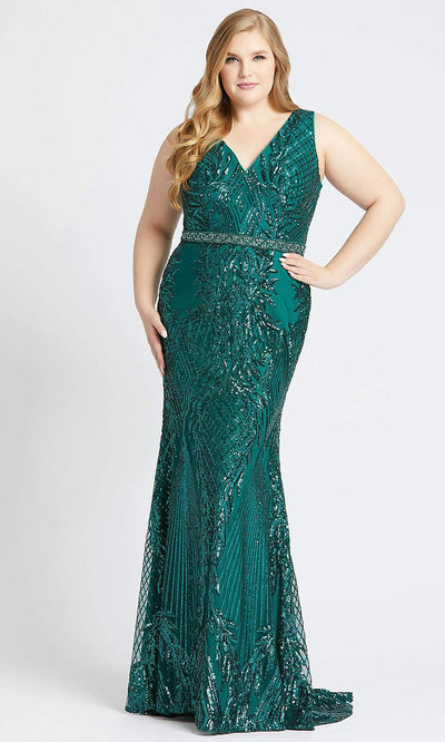 Mac Duggal - 77670F Beaded V Neck Sheath Evening Dress In Green