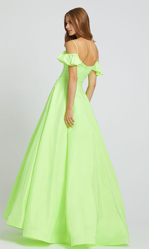 Mac Duggal - 77701L Ruffle Sleeve Cold Shoulder A-Line Dress In Green