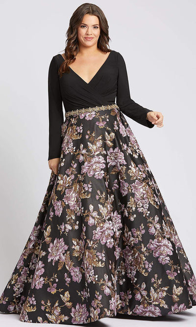 Mac Duggal - 77745F Wrap Style Embroidered Floral Dress In Black