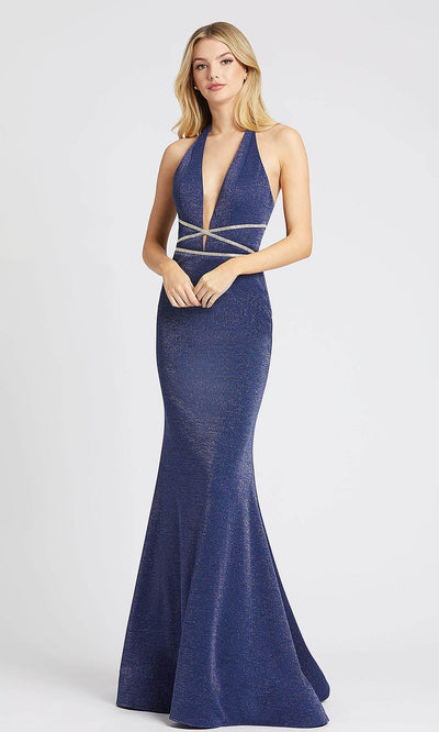 Mac Duggal - 77770L Plunging Halter Cross Ornate Mermaid Dress In Blue