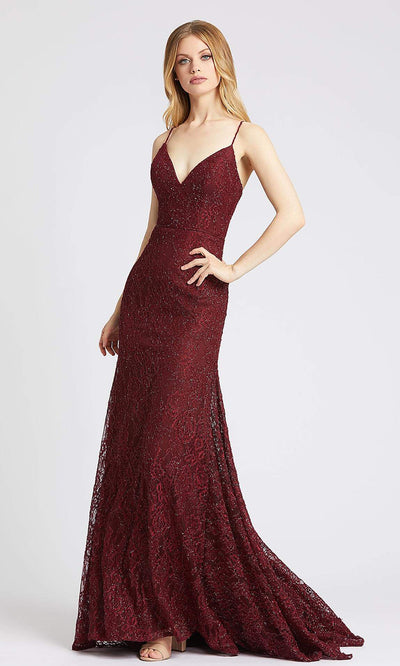 Mac Duggal - 77771L Shimmer Lace Sleeveless Mermaid Gown In Burgundy