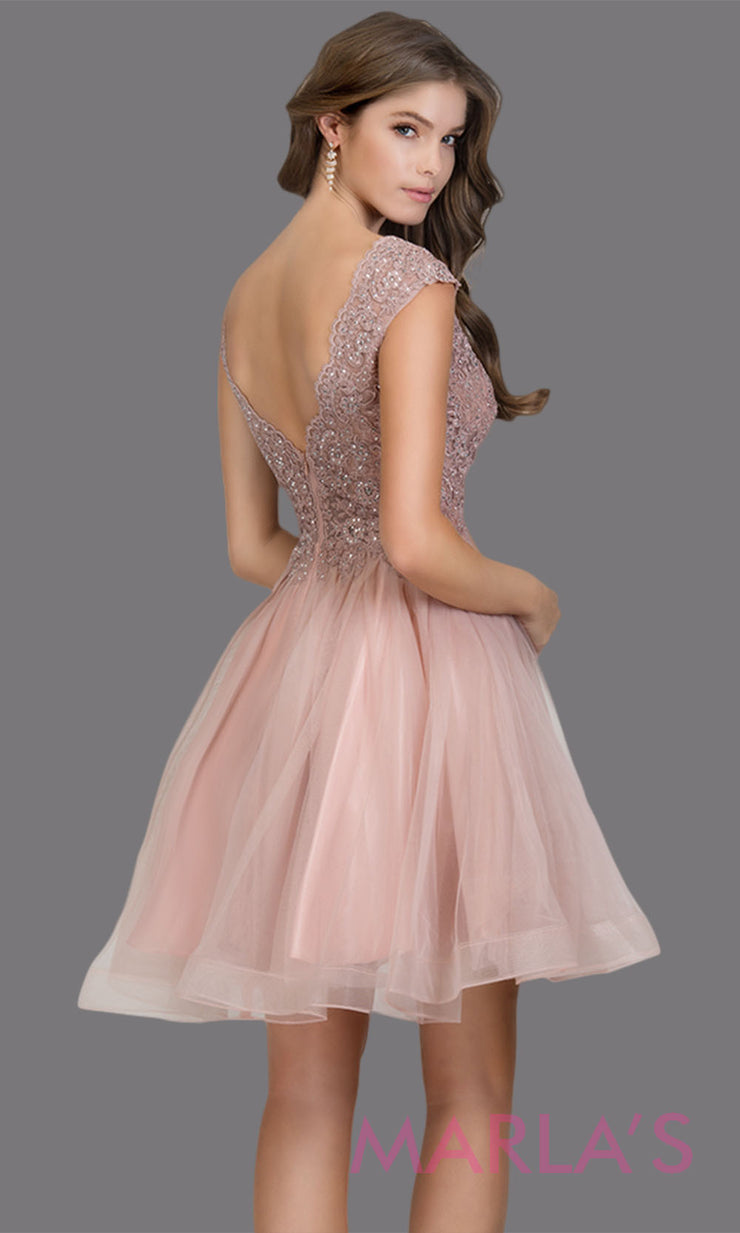 Back of Short wide strap tulle rose pink grade 8 grad dress with lace & V Neck. This puffy simple light pink graduation dress is great as quinceanera damas, sweet 16 birthday, bat mitzvah, confirmation, junior bridesmaid, 8th grade. Plus sizes avail