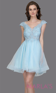 Short wide strap tulle baby blue grade 8 grad dress with lace & V Neck. This puffy simple light blue graduation dress is great as quinceanera damas, sweet 16 birthday, bat mitzvah, confirmation, junior bridesmaid, 8th grade. Plus sizes avail