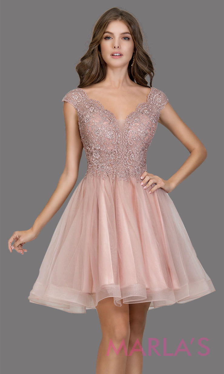 Short wide strap tulle rose pink grade 8 grad dress with lace & V Neck. This puffy simple light pink graduation dress is great as quinceanera damas, sweet 16 birthday, bat mitzvah, confirmation, junior bridesmaid, 8th grade. Plus sizes avail
