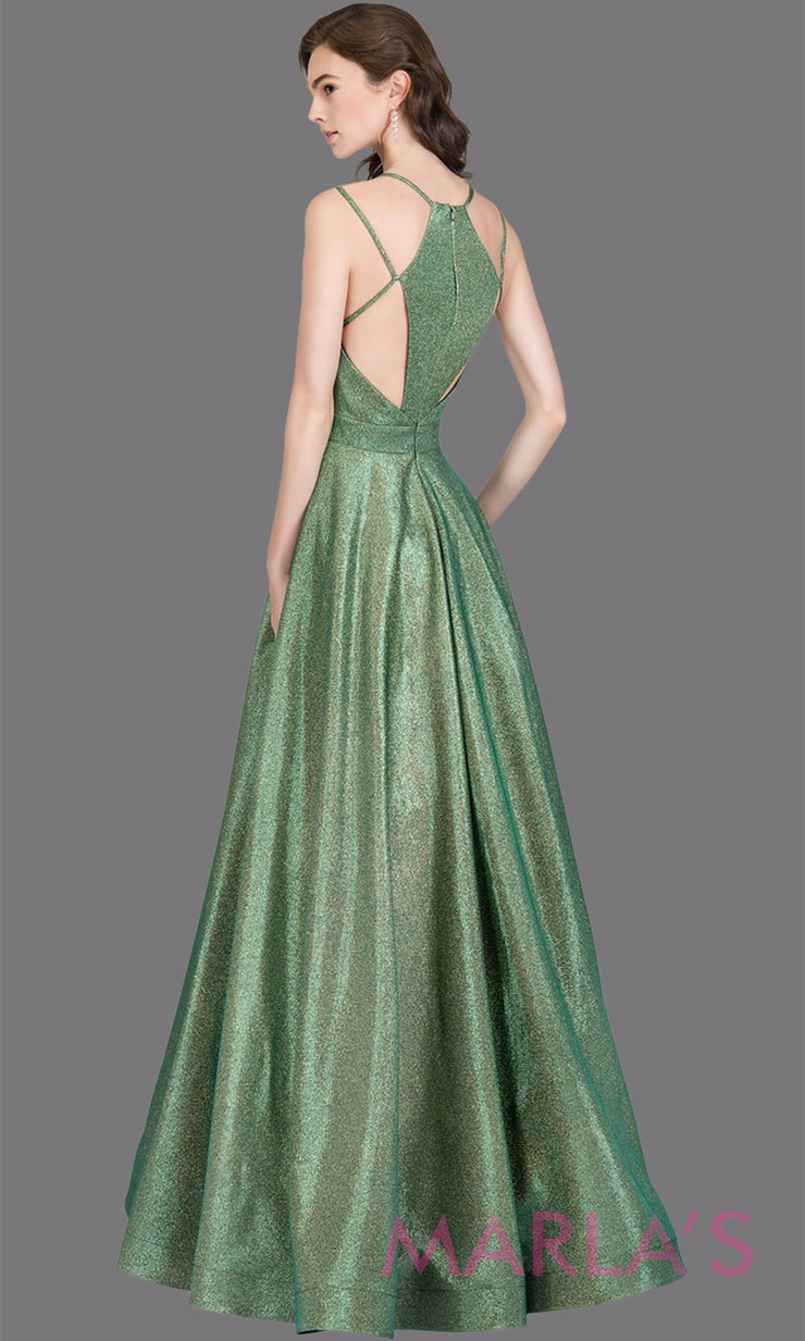Back of Long metallic emerald green semi ball gown with open back. This green formal a line gown is perfect as a green prom dress, wedding reception or engagement dress, indowestern formal party gown, fancy wedding guest dress Plus Sizes avail