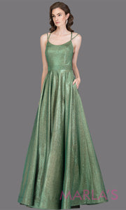 Long metallic emerald green semi ball gown with open back. This green formal a line gown is perfect as a green prom dress, wedding reception or engagement dress, indowestern formal party gown, fancy wedding guest dress Plus Sizes avail