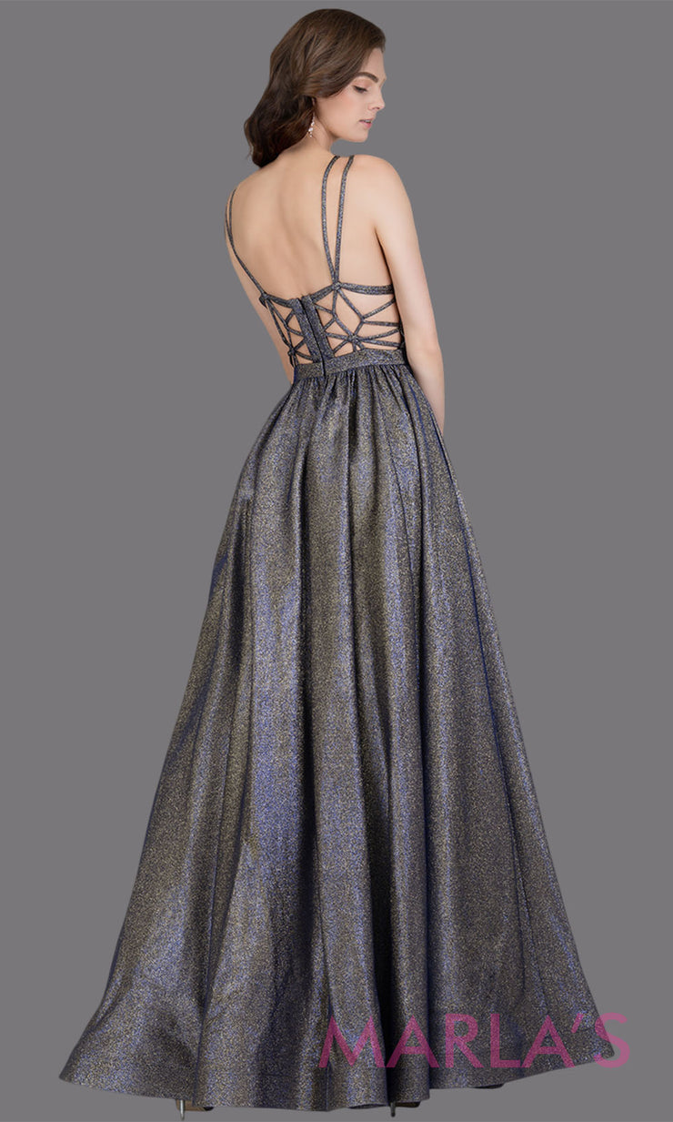 Back of Long metallic royal gold semi ball gown with open back & v neck. This dark gold formal a line gown is perfect as a   prom dress, wedding reception or engagement dress, indowestern formal party gown, fancy wedding guest dress Plus Sizes avail