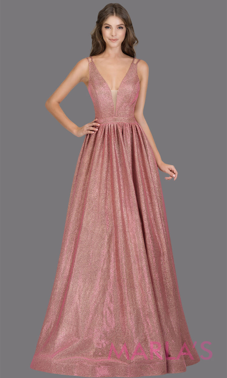 Long metallic rose pink semi ball gown with open back & v neck. This pink formal a line gown is perfect as a pink prom dress, wedding reception or engagement dress, indowestern formal party gown, fancy wedding guest dress Plus Sizes avail