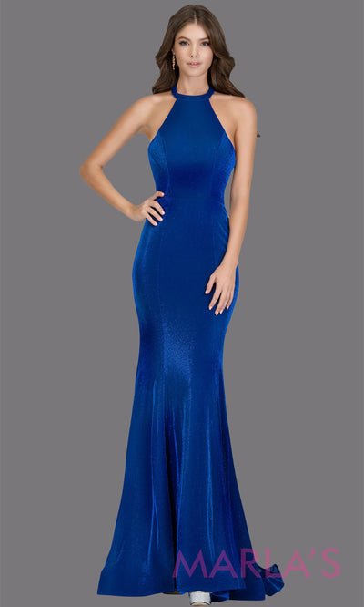 Long high neck royal blue metallic fitted dress with open back. This royal blue sleek & sexy dress is perfect as a prom dress, formal wedding guest dress, sexy long open back prom dress. Plus sizes avail