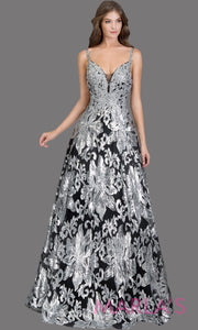Long sequin beaded black silver semi ball gown w/low back. This beaded black formal v neck ballgown is perfect as a prom dress, wedding reception or engagement dress, indowestern formal party gown, fancy wedding guest dress. Plus Sizes avail