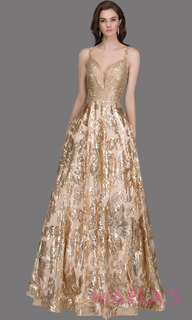 Long sequin beaded champagne semi ball gown w/low back.This beaded gold formal v neck ballgown is perfect as a gold prom dress, wedding reception or engagement dress, indowestern formal party gown, fancy wedding guest dress. Plus Sizes avail
